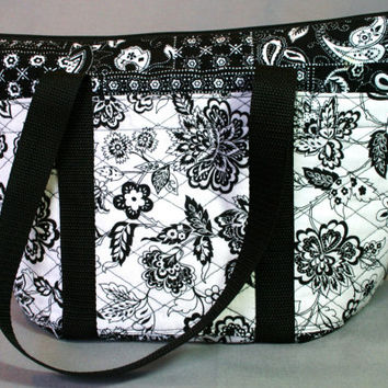 Black and white purse,  zippered purse,  pocketed black and white floral fabric handbag with straps