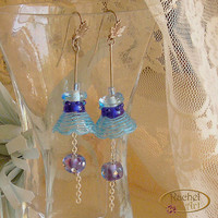 Lampwork Earrings, Bell Shape Dangling Earrings - Handmade Blue ,Turquoise Glass Beads Earrings, Sterling Silver Hook