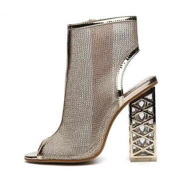 Bling Gladiator Sandals Peep Toe Zip Heel Boots