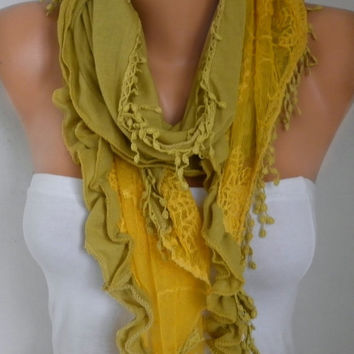 Mustard Tricot Lace Scarf Shawl Spring Summer  Cowl Scarf Gift Ideas for Her Bridesmaid Gift Women Fashion Accessories Mother's day Gift