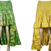 Flow High-Low Maxi Skirt 2pc Recycled Vintage Sari Gypsy Fashion Ruffle Flirty Flare Summer Skirts S/M