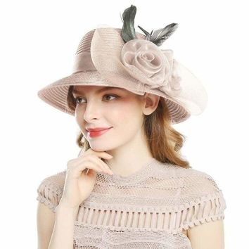 Elegant Big Bow Feather Flower Summer Khaki Color Yarn Church Fedoras Hats