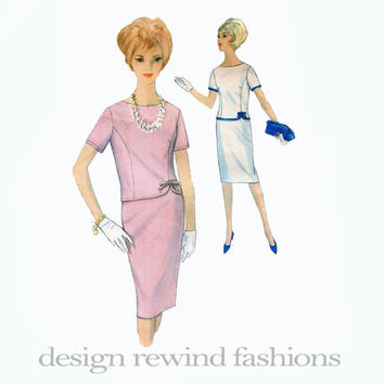 1960s Cocktail Day Evening Career 2-Piece Mod Sheath Dress Round Neckline Back Button Princess Seams Simplicity 4923 Vintage Sewing Patterns