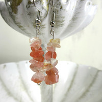 Carnelian Stone Earrings, Ice Carnelian Beads, Orange beaded earrings, Stone chip bead earrings