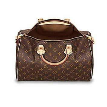 ESBONIA Louis Vuitton Monogram Crosss Body Leather Handles Handbag Canvas Handbag Speedy Bandouliere 35 Article: M41111
