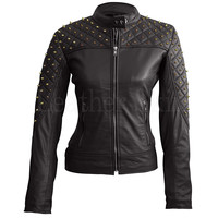 Black Quilted Spike Stud Leather Jacket
