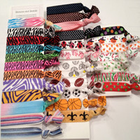 You choose 20 - Printed FOE Hair Tie - Pony Tail Holder