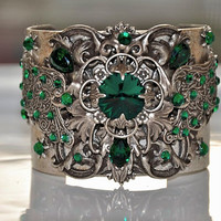 FANNY swarovski crystal EMERALD vintage inspired by cynthiacouture