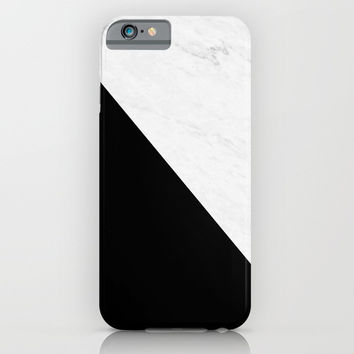 Marble And Black Diagonal iPhone & iPod Case by ARTbyJWP