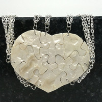 Heart Shaped Puzzle Necklaces Set of 8 Interlocking Necklaces Polymer Clay Made To Order