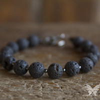 Lava Bead Bracelet w/Hematite Accents from A Single Dream