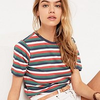 BDG Washed Stripe Skinny Tee in Blue - Urban Outfitters