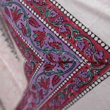 Paisley Print Handmade Block Print Bed- Sheets, Desiner Indian Cotton Bedspread, White Color Queen Size Bedding With 2 Pillow Covers