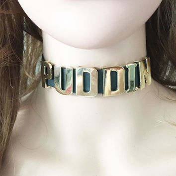 Harley Quinn Snap Button Choker Necklaces Letter Puddin Halloween Movie Suicide Squad Torques For Women Girls Cosplay Collier
