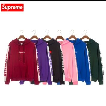 Supreme new Korean loose-fitting pop star paired with corduroy hooded sweatshirt and long sleeve top coat