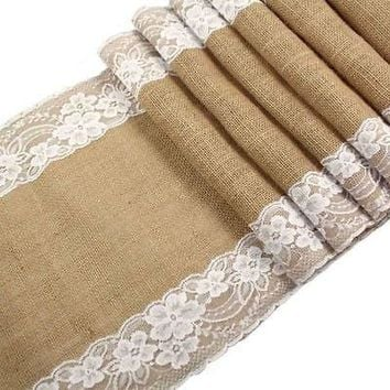 New Vintage Lace Jute Table Runner original ecology style White Natural Jute Country Party Wedding Decoration