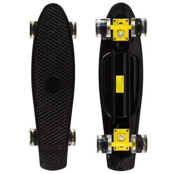 Led Black Penny Style Cruiser Board 22 inch Plastic Skateboard Complete