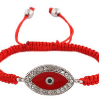 2 Pieces of Red Lace Style Iced Out Evil Eye Macrame Bracelet