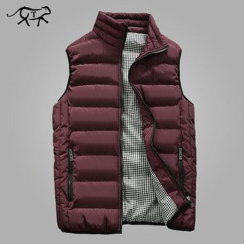 Vest Men Fashion Stand Collar Men's Sleeveless Jackets Casual Slim Fit Cotton Pad Coats Man Winter Waistcoats Plus Size