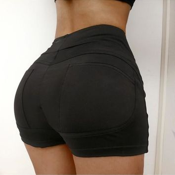 Black Skinny High Waisted Biker Sports Workout Shorts Pants