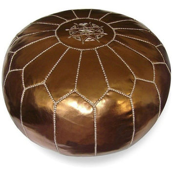 holiday pouf Stuffed Moroccan Pouf Leather Ottoman Poof pouffes hassock Footstool Beanbag leather pillow, branze pouffe Moroccan design