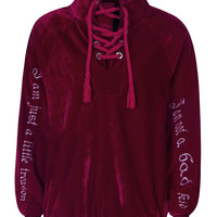 Burgundy Lace Up High Neck Embroidery Detail Velvet Sweatshirt