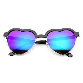 Cute Half Frame Flash Mirror Lens Heart Shaped Sunglasses 9630