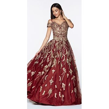 Floor Length Off The Shoulder Lace Ball Gown Burgundy/Gold Sweetheart Neckline