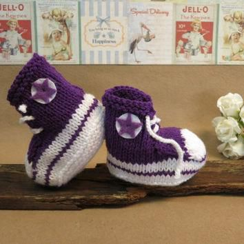 Knit Baby Booties Converse Hi Tops Purple White Toddler Shoes Baby Shower Gift Photo P