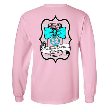 Southern Charm Mason Bow Tie on a Long Sleeve Light Pink T Shirt