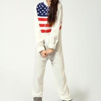 American Flag Print Onesuit