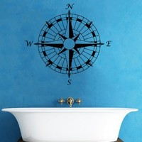 Nautical Compass Rose Bathroom Wall Vinyl Decal Art Sticker Home Modern Stylish Interior Decor for Any Room Smooth and Flat Surfaces Housewares Murals Graphic Bedroom Living Room (2401)