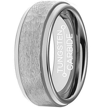 8mm Tungsten Rings for Men Matte Handcrafted Hammered Grain Comfort Fit Polished Edge Wedding Band (Platinum)