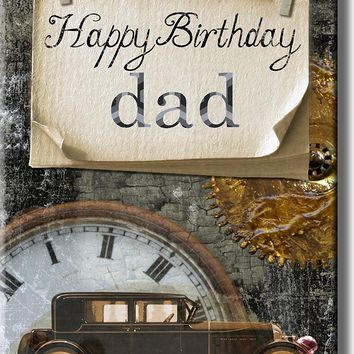 Happy Birthday Dad, Vintage Car Picture on Acrylic , Wall Art Décor, Ready to Hang