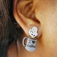 I Love Coffee Earrings