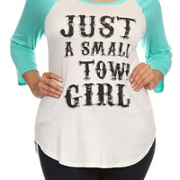 "Plus Size ""Just A Small Town Girl"" Graphic Tee - Gray/White"