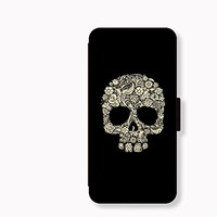 Skull Card Slot Leather Case for Iphone 6 Iphone6 Plus Iphone 5c Case Iphone 5s Case Wallet Case for Samsung Calaxy S5 S4 Case Note3 Note4 Case Cell Phone Holster Design Picture Leather Phone Holster Pouch Phone Covers (Case For iPhone 5c)