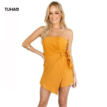 TUHAO Obscure Striped Strapless Sexy Jumpsuits Women Kimono Side Drawstring Personality Summer Panty Skirt Playsuits T81557