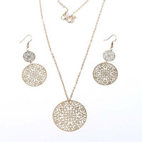 Antique Gold Plated Hollow Copper Flower Pendant Necklace and Drop Earrings Jewelry Set for Women