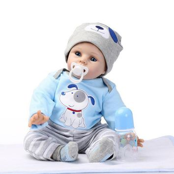 Toddler 55cm Cute Handmade Lifelike Silicone Vinyl Reborn Baby Doll kids Playmate Gift For Girls boys Baby Soft Doll Reborn Toys