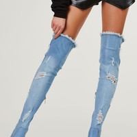 Dashin' Through Denim Thigh Highs