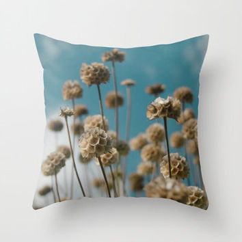 "Art Print Throw Pillow with Blue and Gold Nature Photography Print in sizes 16""x 16"", 18""x18"" or 20""X20"", Indoor and Outdoor fabric."