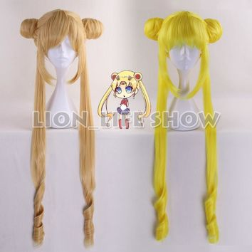 Sailor Moon Crystal New Queen Serenity Princess Serenity Tsuking Usagi super Sailor Moon Gold headwear lemon yellow cosplay wig