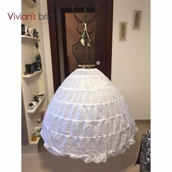 High Quality White 6 Hoops Petticoat Crinoline Slip Underskirt For Wedding Dress Bridal Gown In Stock 2017