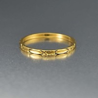 Orange Blossom 14K Gold Art Deco Band Ring