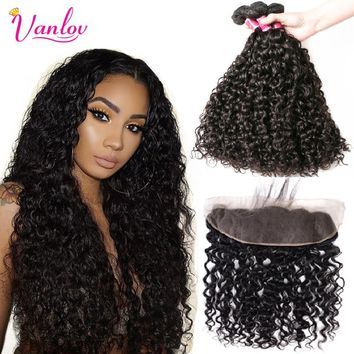 Vanlov Water Wave Human Hair 3 Bundles With Closure Frontal 4 Pcs/Lot Brazilian Curly Bundles With Closure Remy Hair Extension