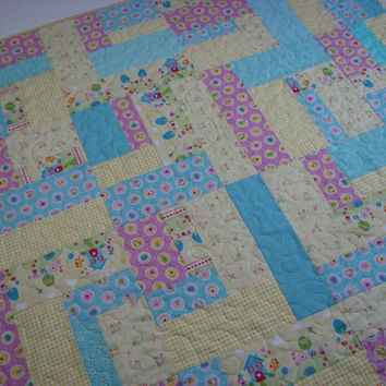 Quilted Throw, Springtime Easter Baby Quilt, Pastels, Scrappy