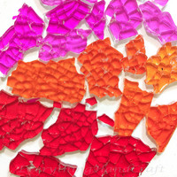 Mosaic Crackle | Glass Crackle mosaic | Decorative mosaic | Broken glass pieces | Mix Pink Red Orange (150g, 4mm) DIY Tool #20