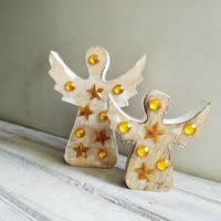 Distressed wood angels, wooden Christmas angels in distressed style with golden beads and stars, Xmas decor angel figurines, set of two