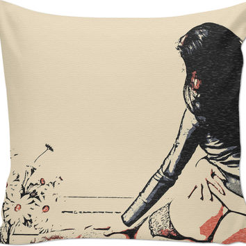 Adult series, throw pillow with insert - Beauty and the flowers, sexy girl in lingerie